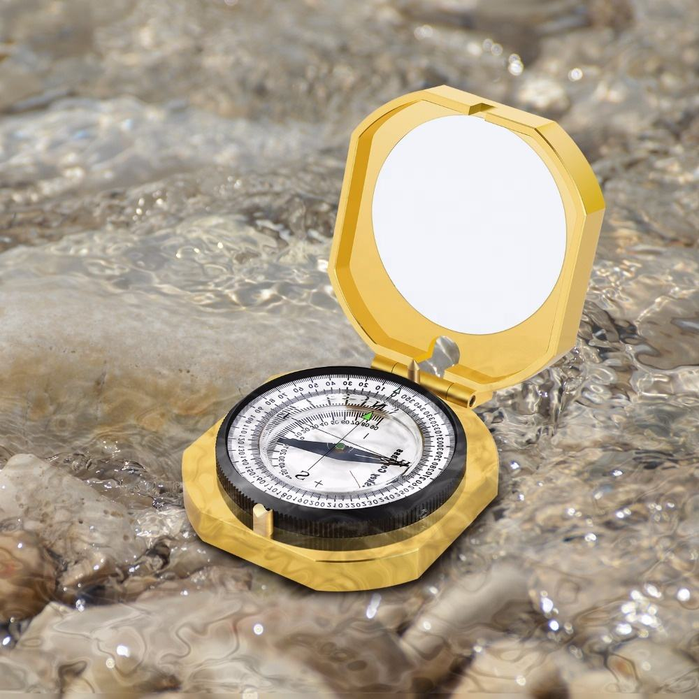 Factory Professional Travel Brass Compass Camping Pocket Prismatic Magnetic Compass Brunton Compass for Sale with OEM Service