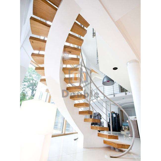 Customized Wooden Curved Structure Staircase/Luxury stairs