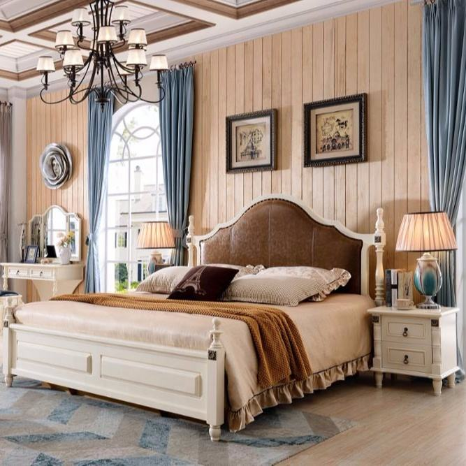 2019 Antique king bedroom furniture used solid wood and MDF to finish for home furniture sets