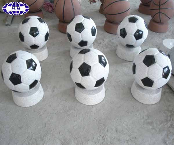 China nature white with black granite football sculpture