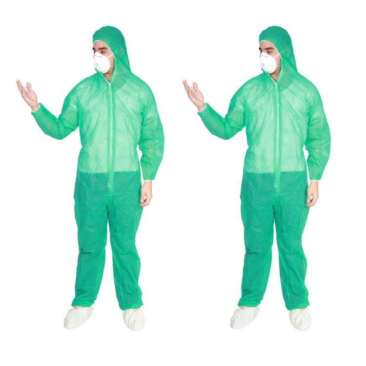 disposable coverall manufacturers colorful nonwoven waterproof disposable PE coated PP coveralls