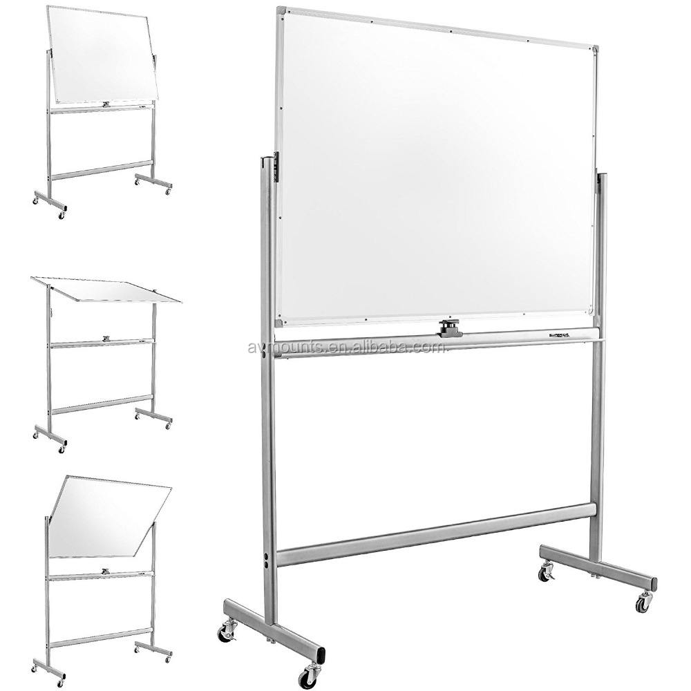 Movable Mobile Double-sided Magnetic Dry Erase White Board with Aluminum Frame Stand and Wheels