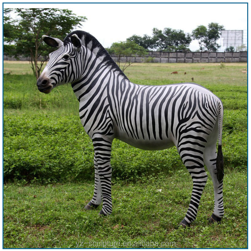 Zoológico decoración tamaño natural de fibra de vidrio <span class=keywords><strong>cebra</strong></span> escultura para la venta