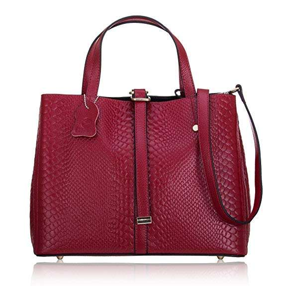 Womens Genuine Leather Cross-body Handle Shoulder Handbag Tote Bag with Classic Snake Pattern Design
