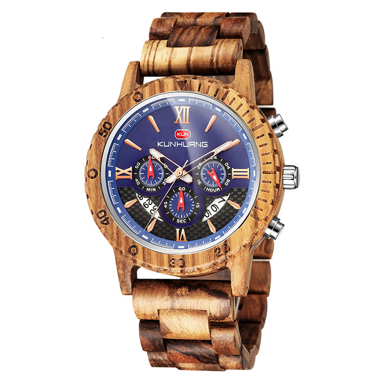 Large stocks factory selling chronograph men's wristwatch zebra wood luxury wood watch