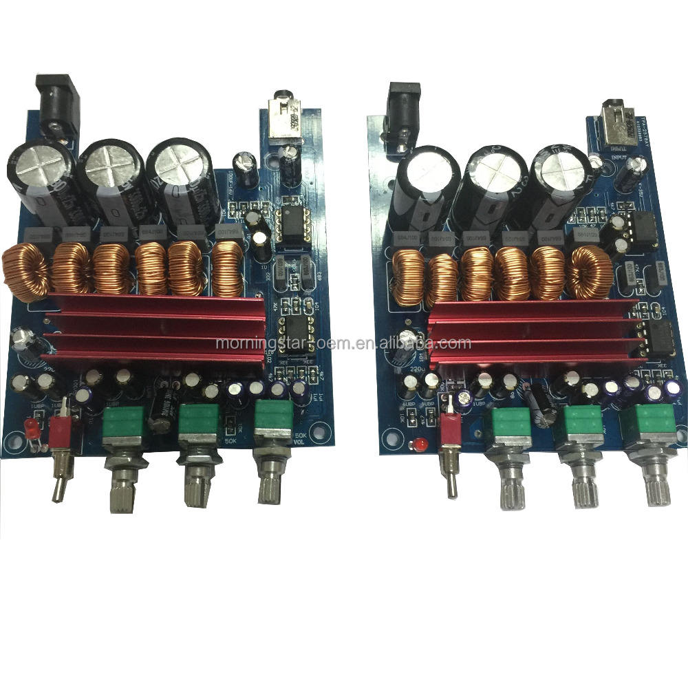 TPA3116D2 HiFi 2.1 channels Digital Amplifier PCB circuit board 50W*2 +100W DC12-25V 24V professional audio power amplifier
