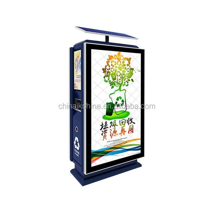 Double Screen Solar Powered LED Signage Stand, Aluminum Bank Sign Board Billboard Mega Led Light Box Trash Can