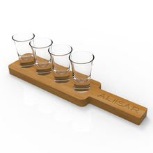 15ml tequila personalized shot glass with wood tray
