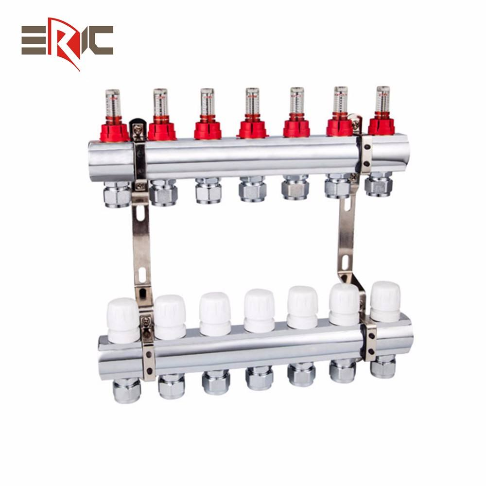High Quality For The Underfloor Heating (square Bar) 2-12 Loops 304 Stainless Steel Manifold With Flow Meter
