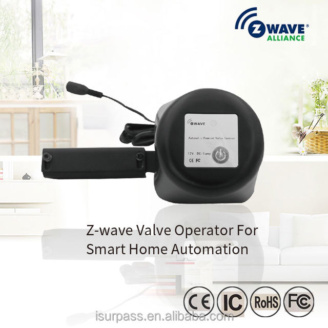 z-wave water gas shut-off valve control operator for smart home automation system
