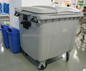 1100L plastic mobile garbage bin waste container