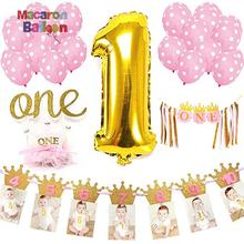 Pink Birthday Party Decorations Set Happy Birthday Banner Baby Girl 1st Birthday Princess Party KK398