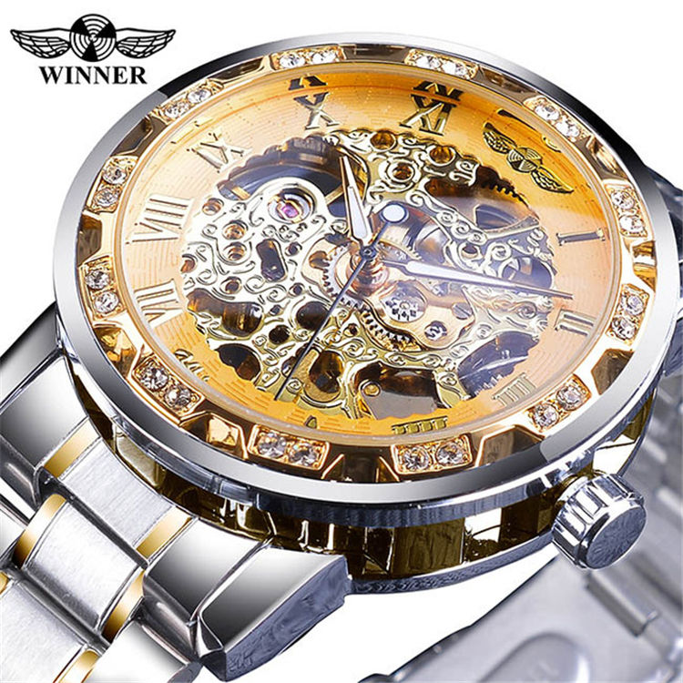 Vencedor 278 fashion diamond display luminoso movimento de engrenagem de mãos retro design real masculino relógios de pulso mecânicos esqueleto