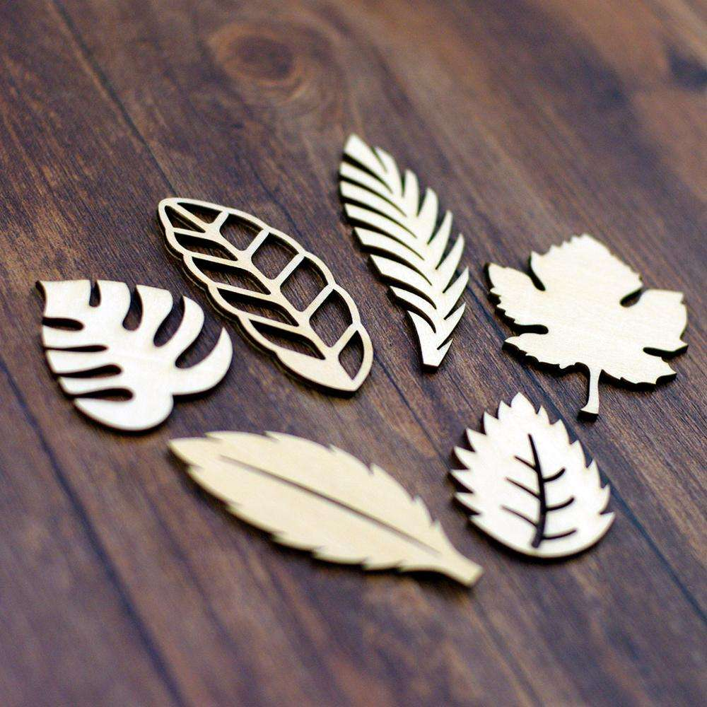 Wholesale laser cut Wooden Craft Leaves Die Cut Embellishments For DIY Handicraft Wood Scrapbooking Card Making Crafts