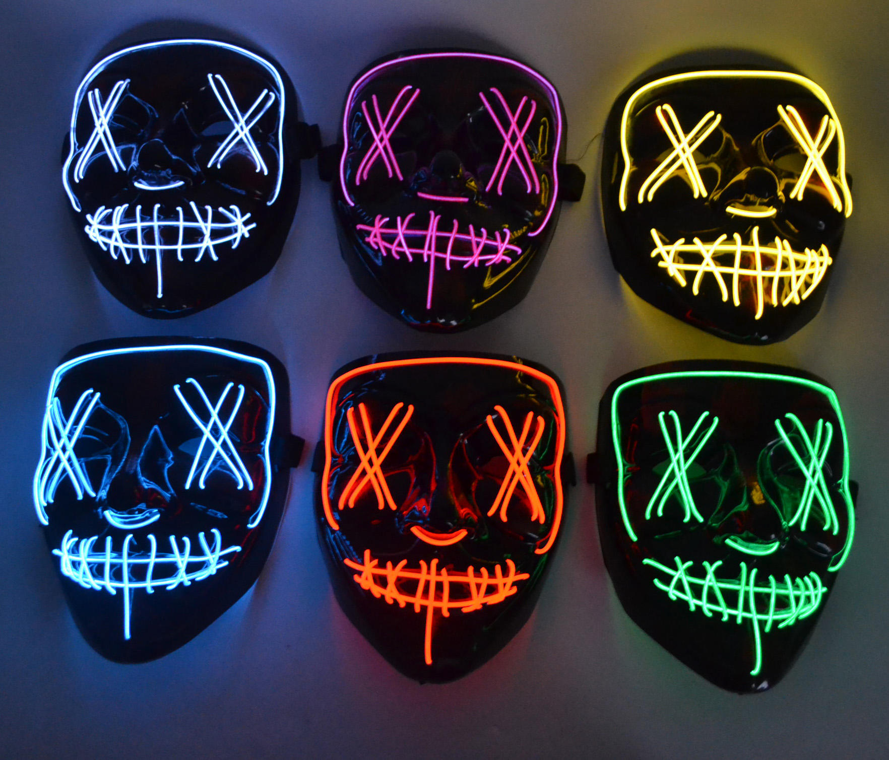 Scary LED Mask Halloween Costume Cosplay EL Wire Mask Glowing mask
