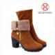 China New Design Round Toe Block Heel Boots With Zipper Keep Warm Women Snow Boots