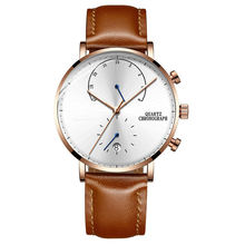 Male Clock Mens Waterproof Watches Leather Top Brand Strap Slim Quartz Casual Business Mens Wrist Watch