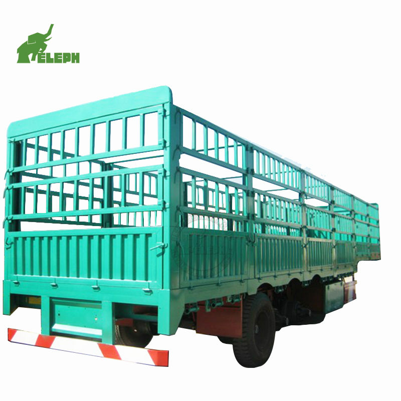 3 4 Axles 40 Feet 40ton Panel Doors Stake Dropside Fence Trailer For Cattle