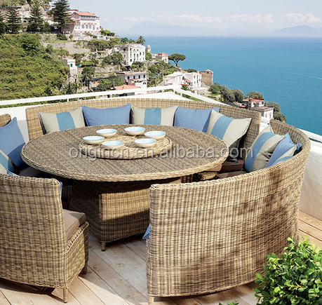 Curved sofa bench designed italian style wicker round table set with lazy susan outdoor dining furniture restaurant
