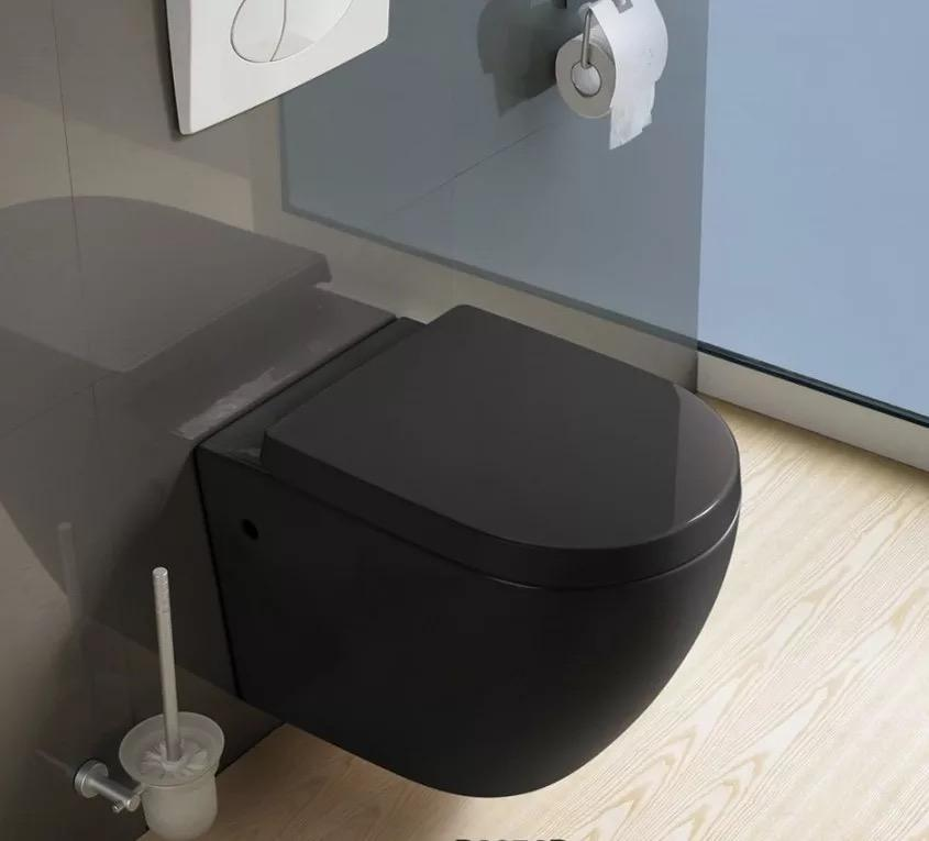 YIDA export to Netherlands and Italy CE certificate ceramic hanging toilet, matt black color wall hung toilet