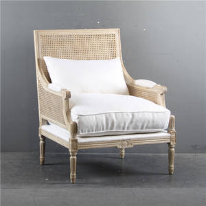 Antique French country style Oak Frame Rattan Sides cane back Linen upholstered armchair