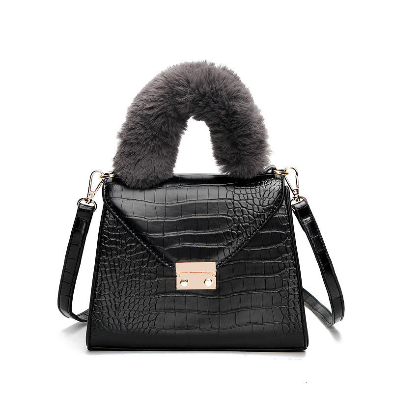 Winter Creative Ladies PU Leather Fur Handle Bag Multi-function Shoulder Bags