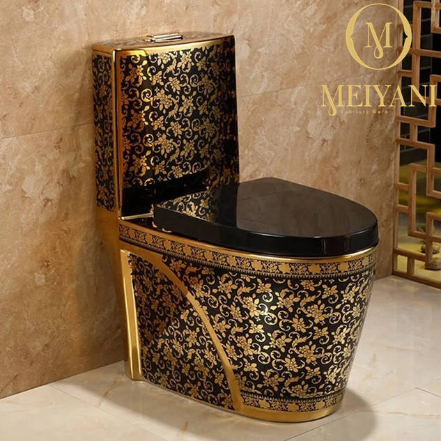 MEIYANI Luxury bathroom toilet Wash Down 250mm One Piece toilet Gold toilet Commode