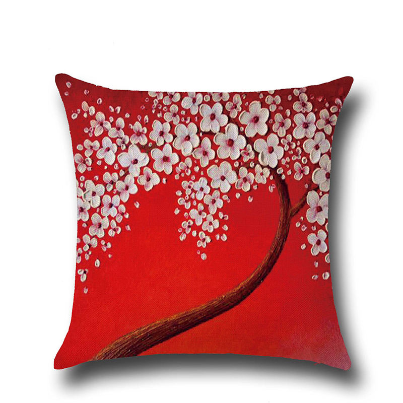 Red 3D Printed Linen Cushion Cover Decorative Pillowcase Home Decor Sofa Throw Pillow Cover