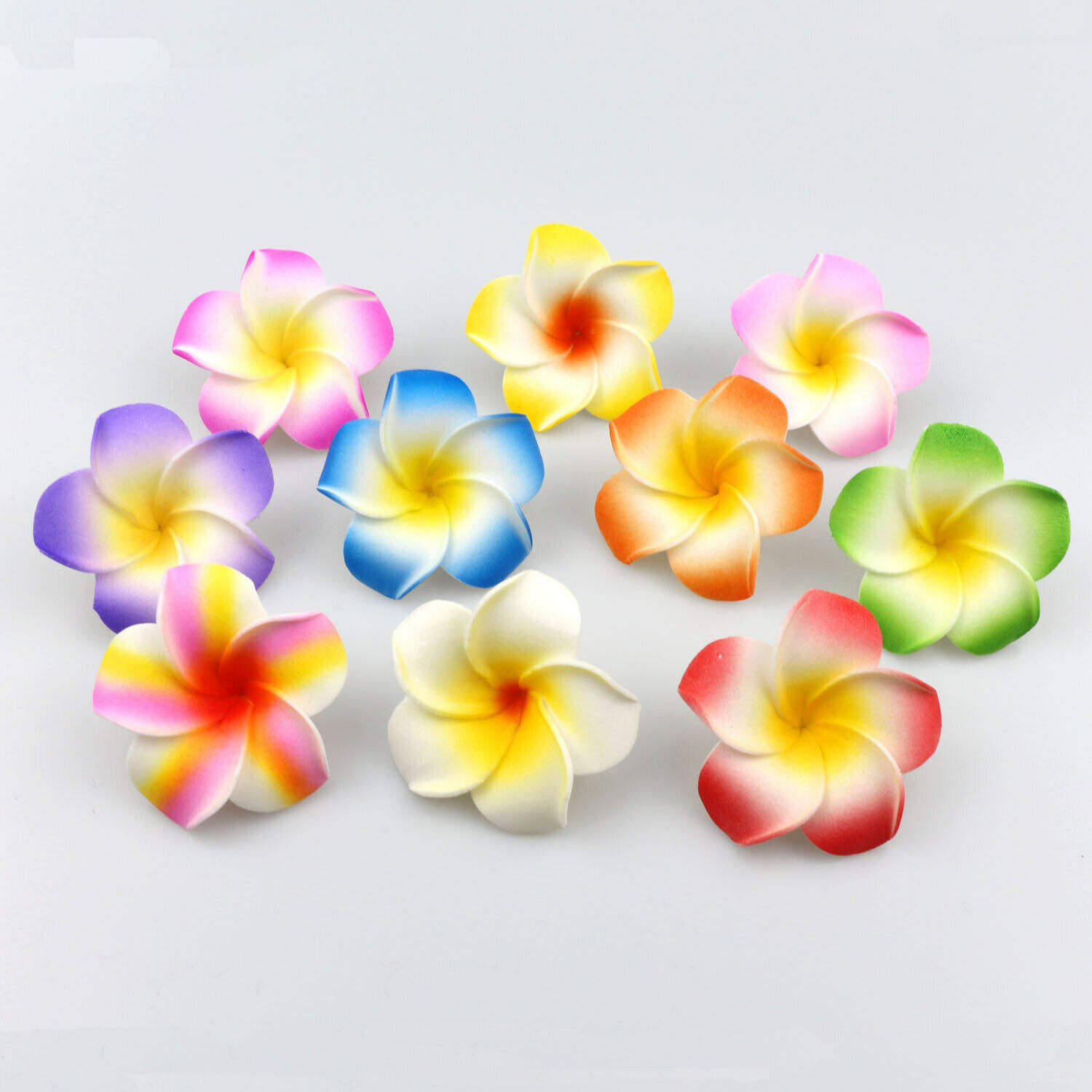 100 pcs/bag 5cm Artificial Foam Hawaiian Plumeria Frangipani Flower Head DIY Headwear hair clip Corsage flower