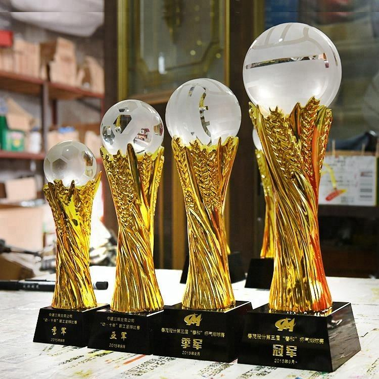 NEW Design laser engraved awards and medals crystal glass ball resin trophy for World Cup