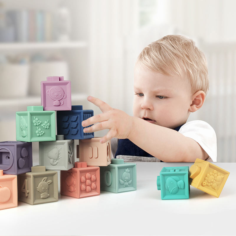 3D touch hand soft baby teether bath squeeze 12 pieces block toy building block educational toy