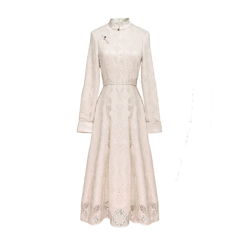 JINYE Long Sleeve Velvet Lace Modern Qipao Cheongsam Dress