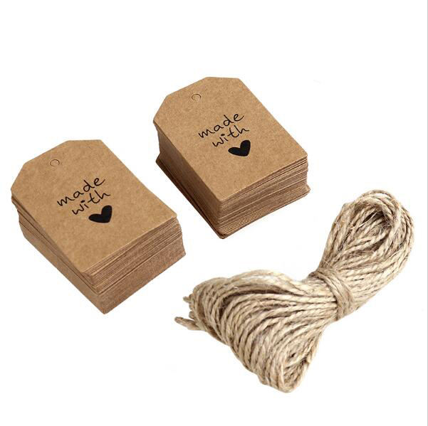Kraft Paper Tags Luggage Wedding Blank Price Hang tag Kraft Gift Hang tag