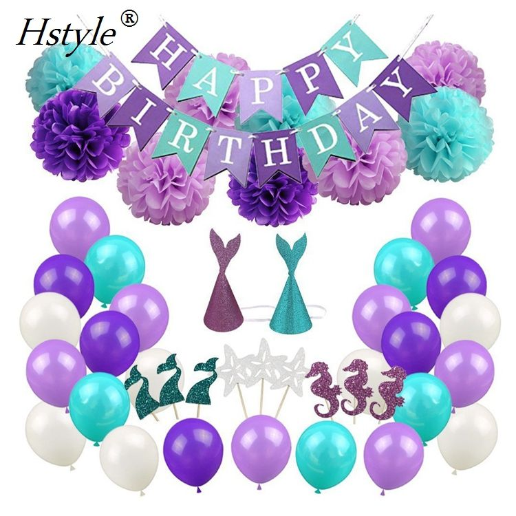 Purple+Tiffany Blue Mermaid Party Supplies Pack Happy Birthday Banner,Balloons Paper Pom Poms,Glitter Cap Set Decoration SET32