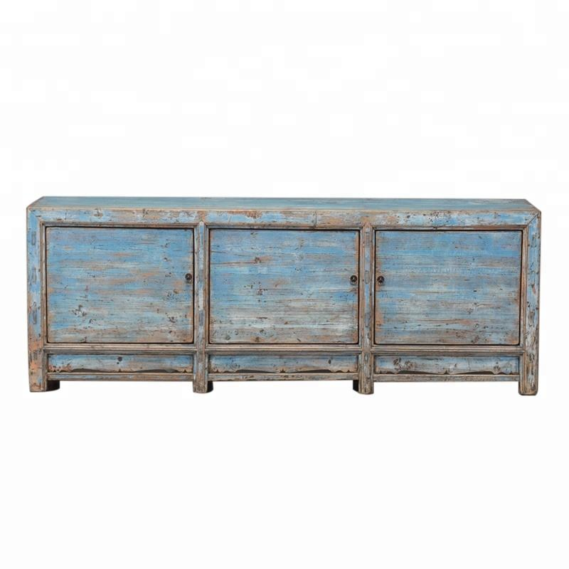 Solid pine wood antique dry blue chinese wood furniture