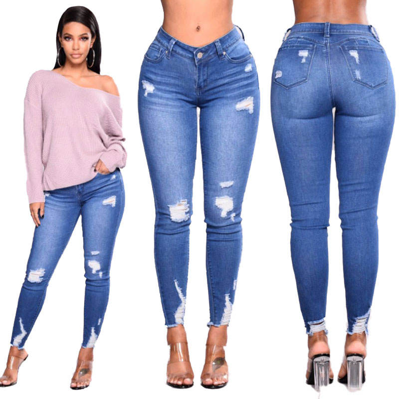 90623-MX117 casual simple high waist ripped ladies jeans