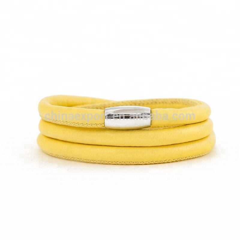 Wholesale 60cm yellow lemon color nappa leather bracelets for DIY bracelet making
