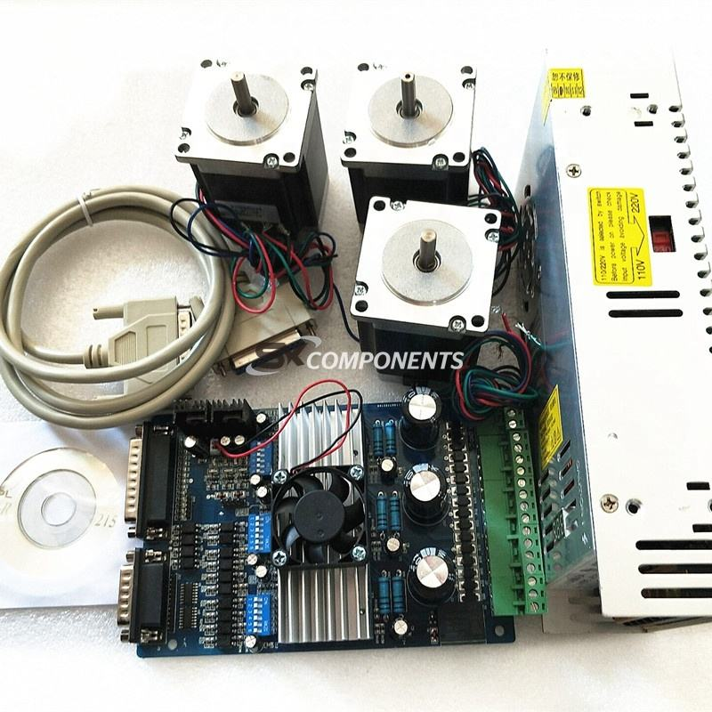 3Axis Nema 23 Stepper Motor 255oz-in & Driver Board TB6560 3.5A+ 220V Power Supply 350W+ CNC ROUTER KIT