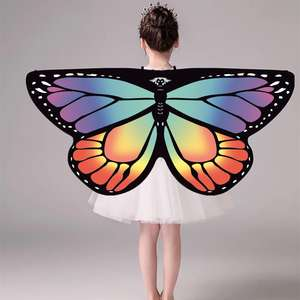 Soft Chiffon Glow Rainbow Foldable Girls Dance Butterfly Wings Party Dress Capes