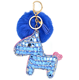 Customized Fur horse Bag Charm Made Of Fox Body Fur Vogue Rhinestone Fur Balls keychain