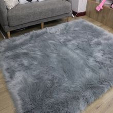 Wholesale modern grey faux fur sheepskin area rug carpet