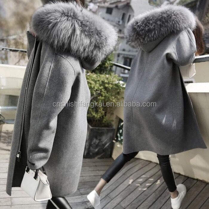 Christmas promotional women south korean style coat leather coat with hat Christmas coat stock outfit overcoat factory