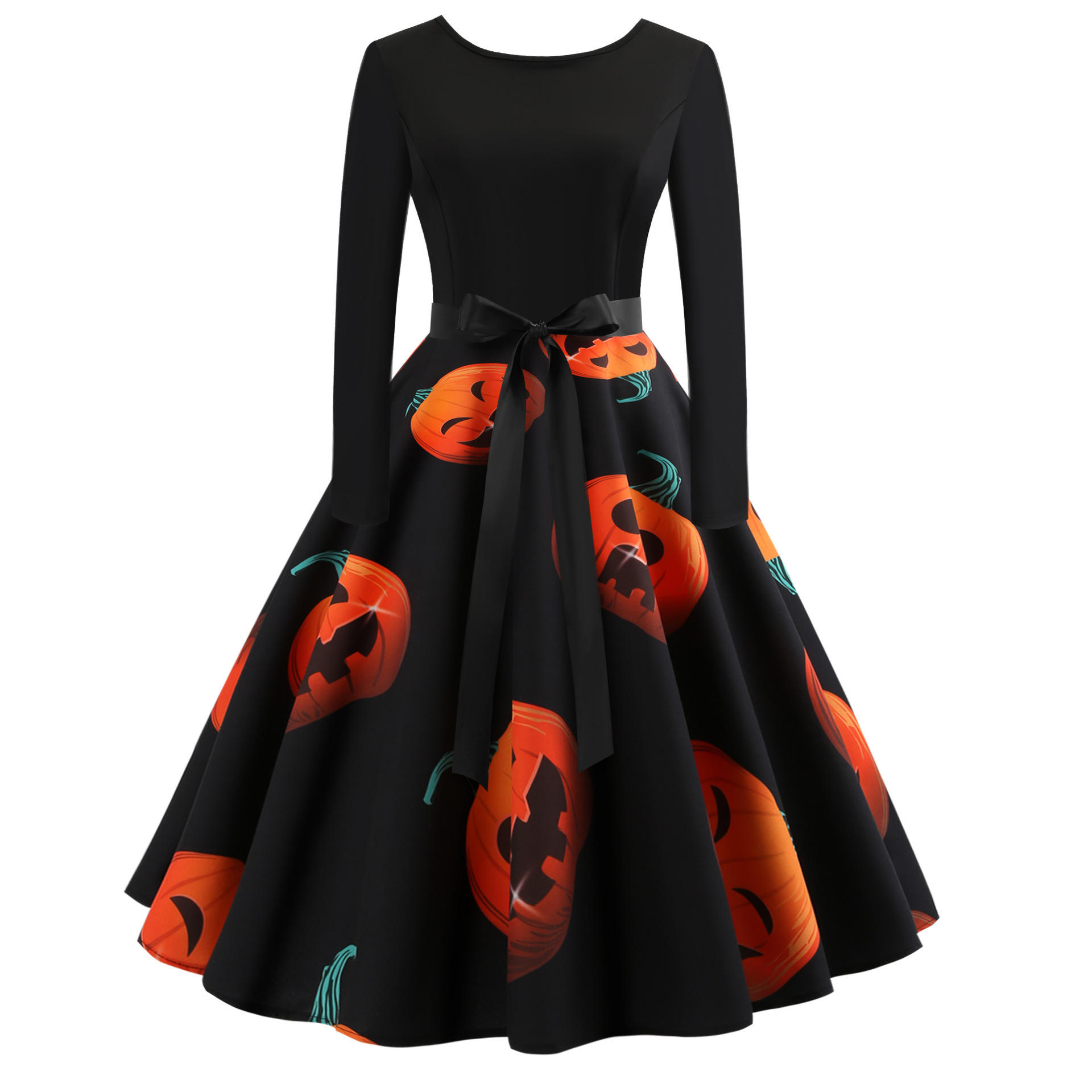 Hot Koop Populaire Gedrukt Halloween Kerst Dames Vintage Midi Party Dress Met Boog