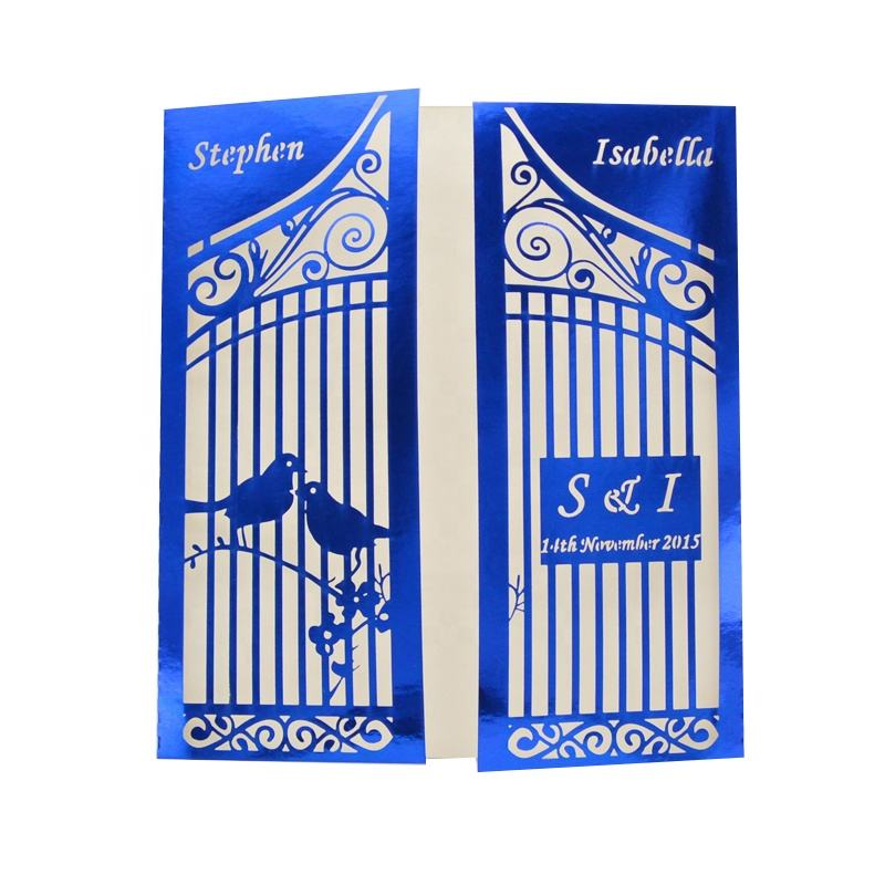 MR005 High Quality 2017 Hot Sale Bird Cage Craved Pattern Wedding Laser Cut Invitation Card