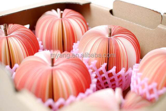 Promotional 3D fruit apple, pear watermelon shaped wholesale note paper fruit memo pad