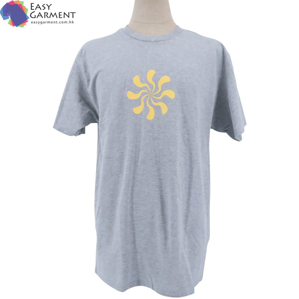 clothing manufacturers High quality 3D Embroidery Tri blend short sleeve outdoor gray tshirt with customization