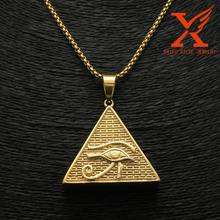 Men Hip Hop Pendant 14k Gold Plated Eye of Horus Egypt Pyramid Ankh Charms Pendant Stainless Steel 316L Jewelry