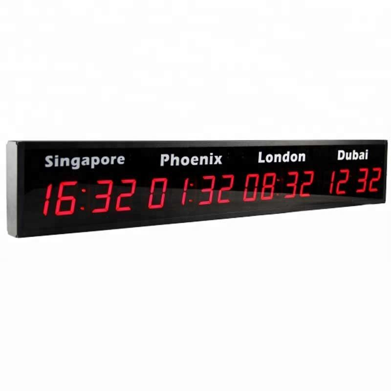 Digital LED Display World Clock and LED Light Multiple Time Zone Clock