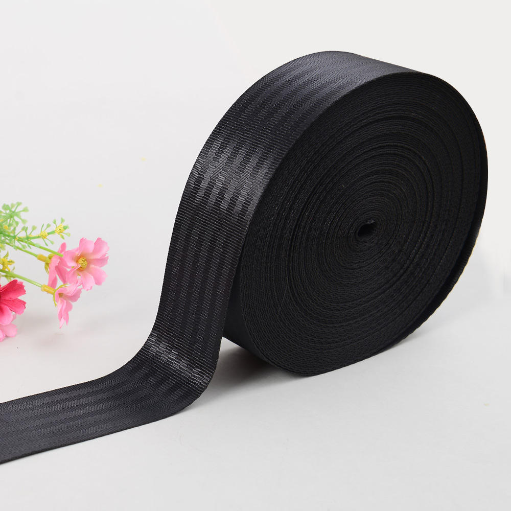 47mm Black Polyester Car Seat Belt Webbing Tape