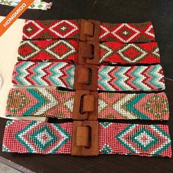 Handmade Four Different Styles Wooden Beaded Belts With Big